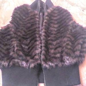 L Jou jou faux fur vest never worn